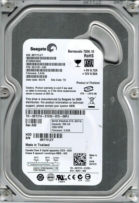 Seagate ST3250310AS P/N: 9EU132-033 F/W: 3.ADA 250GB TK