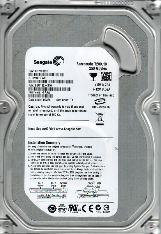 Seagate ST3250310AS P/N: 9EU132-310 F/W: 4.AAA 250GB TK