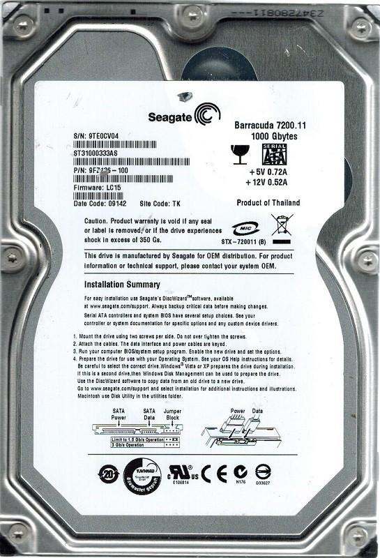 Seagate ST31000333AS P/N: 9FZ136-100 F/W: LC15 TK 1TB