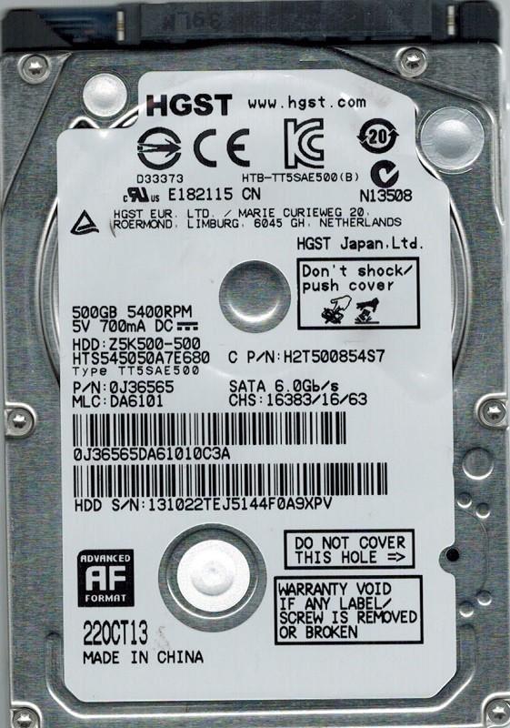 HGST HTS545050A7E680 MLC: DA6101 P/N: 0J36565 500GB
