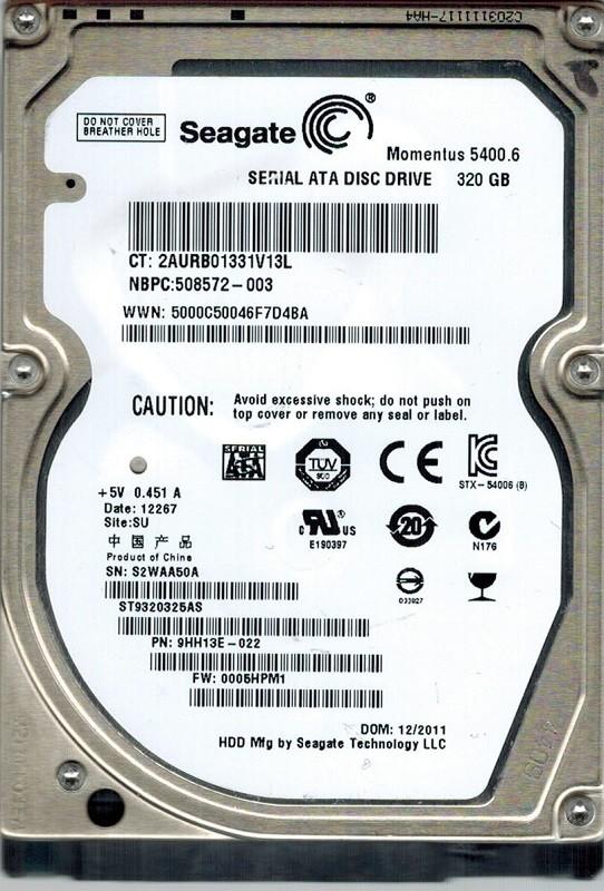 Seagate ST9320325AS P/N: 9HH13E-022 F/W: 0005HPM1 SU 320GB