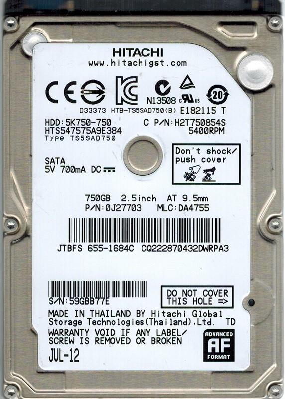 Hitachi HTS547575A9E384 P/N: 0J27703 MLC: DA4755 750GB