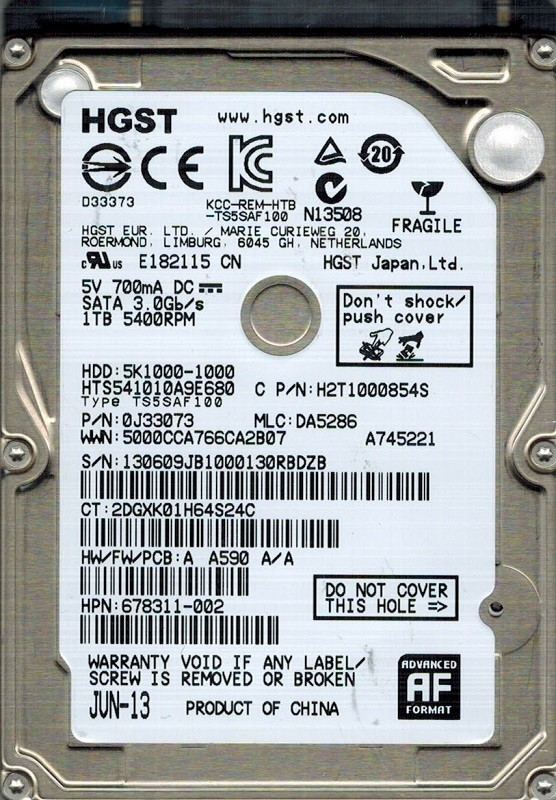Hitachi HTS541010A9E680 P/N: 0J33073 MLC: DA5286 1TB