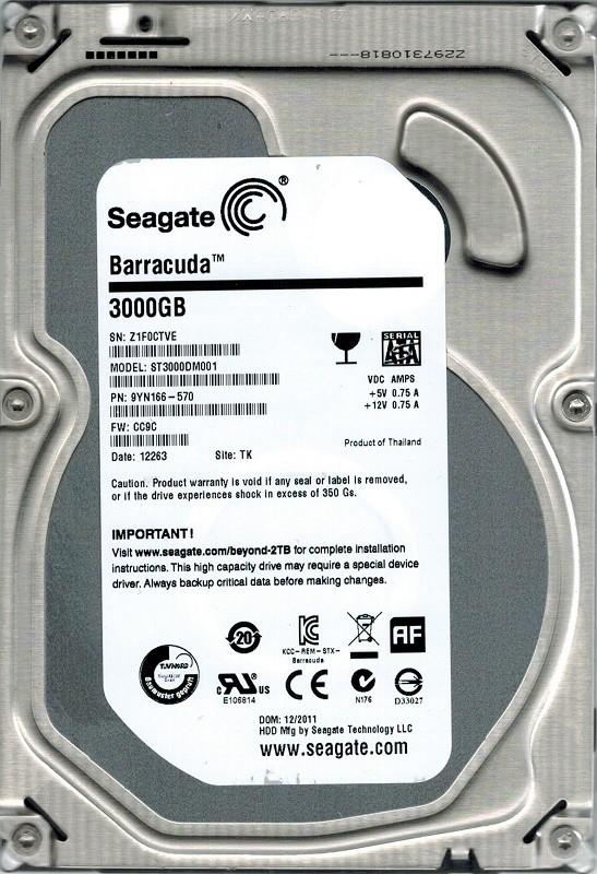 ST3000DM001 Seagate P/N: 9YN166-570 F/W: CC9C 3TB TK