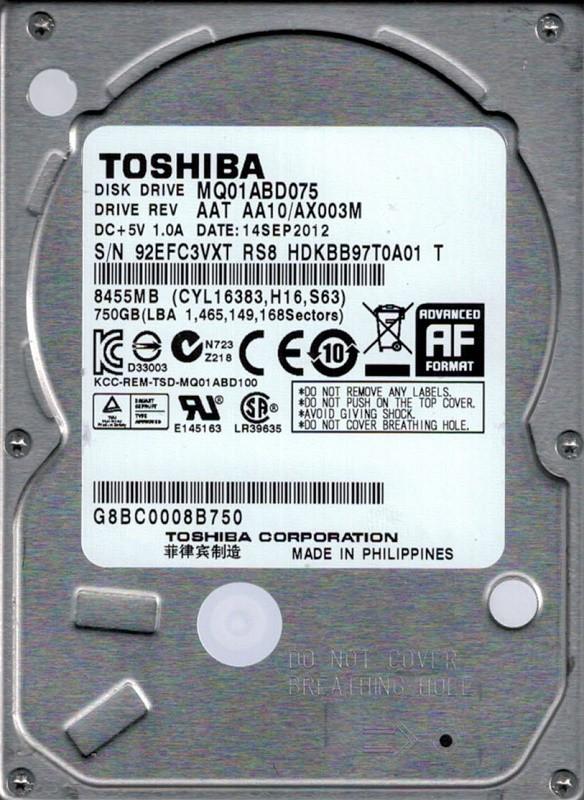Toshiba MQ01ABD075 750GB AAT AA10/AX003M PHILIPPINES