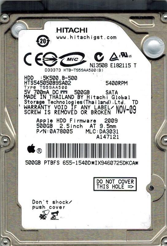 Hitachi HTS545050B9SA02 P/N: 0A78005 MLC: DA3031 500GB APPLE