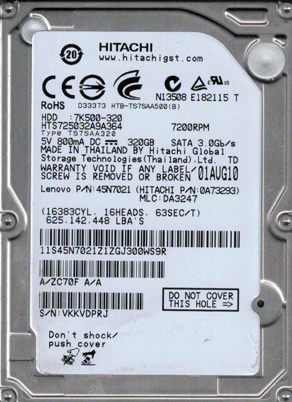 HTS725032A9A364 Hitachi P/N: 0A73293 MLC: DA3247 320GB