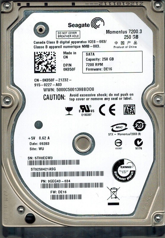 Seagate ST9250421ASG 250GB P/N: 9GEG43-034 F/W: DE16 WU