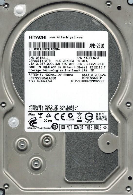 Hitachi HDS722020ALA330 P/N: 0F10311 MLC: JPK3EA 2TB