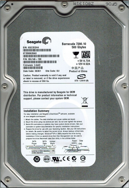 Seagate ST3500630AS 500GB P/N: 9BJ146-188 F/W: 3.AAD SU