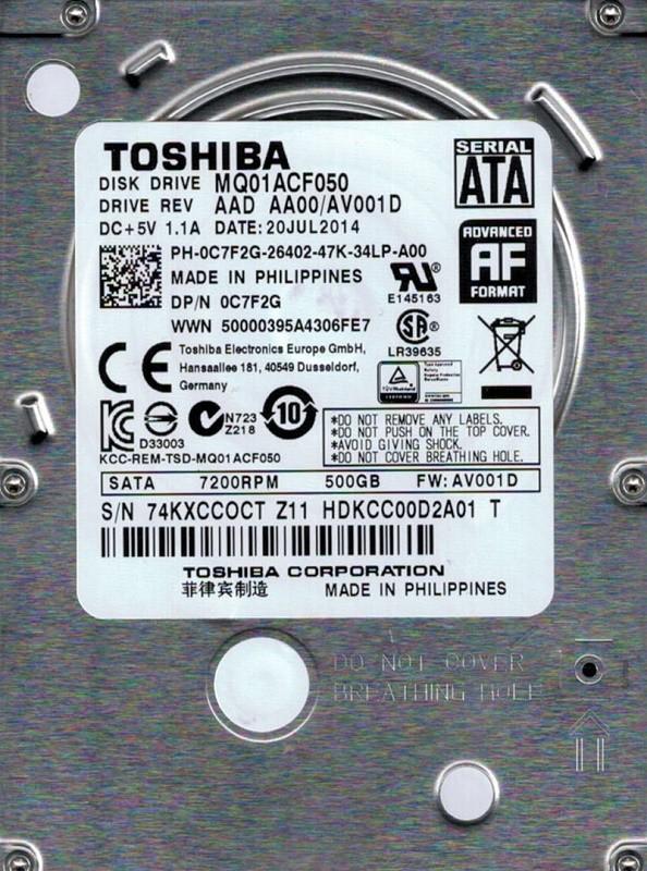 Toshiba MQ01ACF050 AAD AA00/AV001D PHILIPPINES 500GB