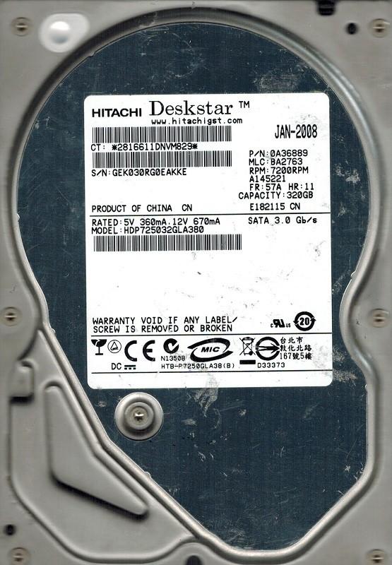 Hitachi HDP725032GLA380 P/N: 0A36889 MLC: BA2763 320GB