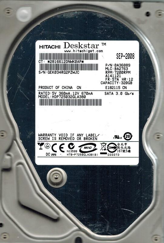 Hitachi HDP725032GLA380 MLC: BA2763 P/N: 0A36889 320GB
