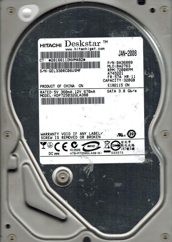 Hitachi HDP725032GLA380 320GB P/N: 0A36889 MLC: BA2763