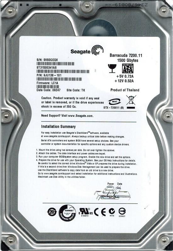 Seagate ST31500341AS P/N: 9JU138-101 F/W: LC1A TK 1.5TB