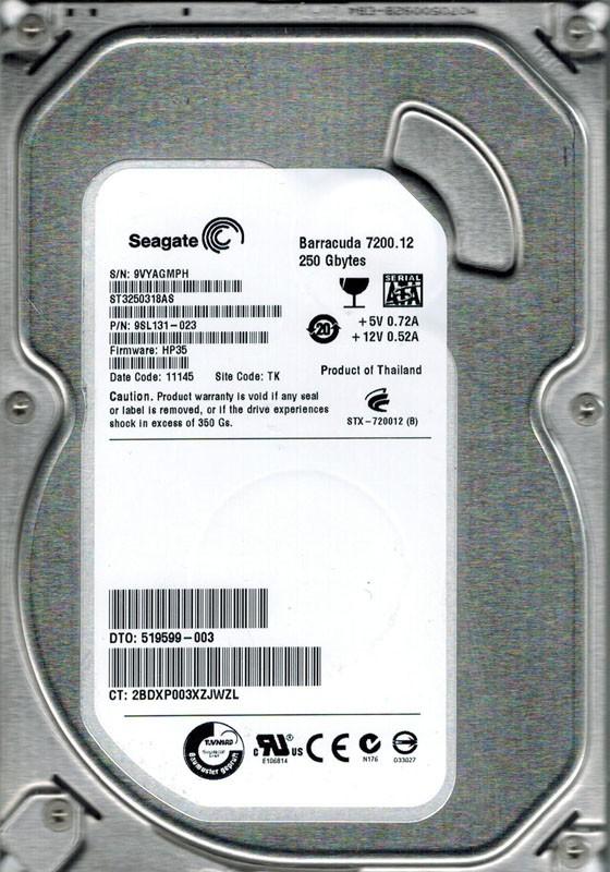 Seagate ST3250318AS P/N: 9SL131-023 F/W: HP35 250GB TK