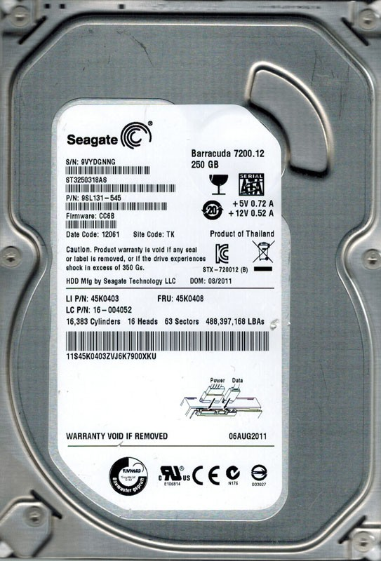Seagate ST3250318AS P/N: 9SL131-545 F/W: CC6B 250GB TK