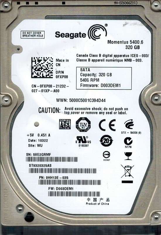 Seagate ST9320325AS P/N: 9HH13E-035 F/W: D003DEM1 WU 320GB