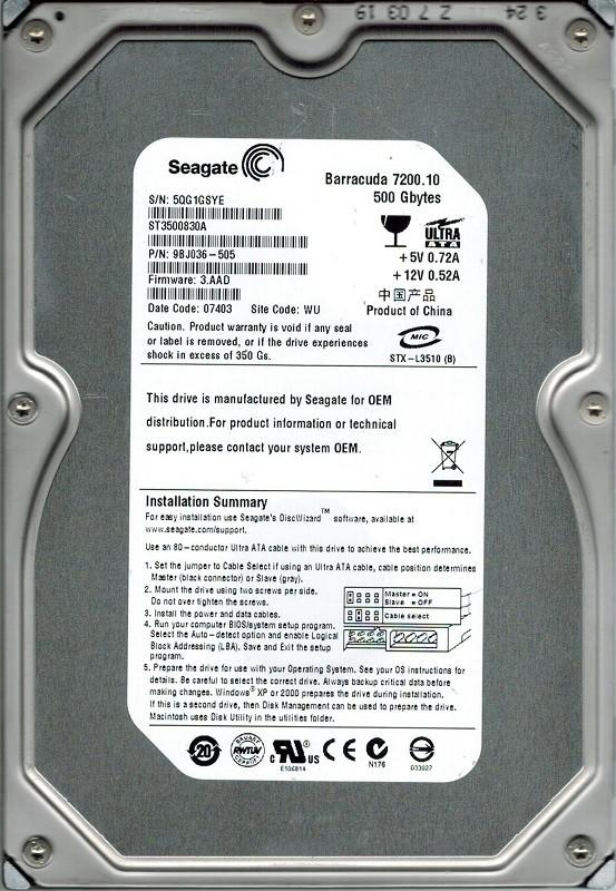 Seagate ST3500830A P/N: 9BJ036-505 500GB F/W: 3.AAD WU