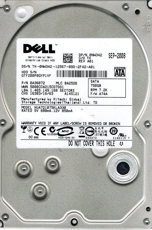 Hitachi HUA721075KLA330 P/N: 0A36072 MLC: BA2526 750GB DELL