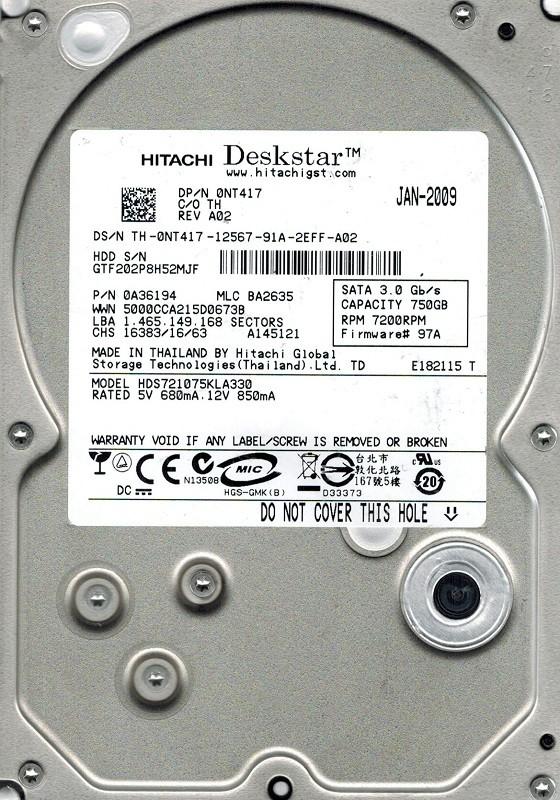 Hitachi HDS721075KLA330 P/N: 0A36194 MLC: BA2635 750GB