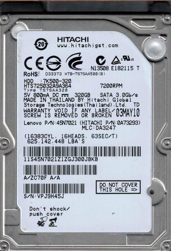 Hitachi HTS725032A9A364 MLC: DA3247 P/N: 0A73293 320GB