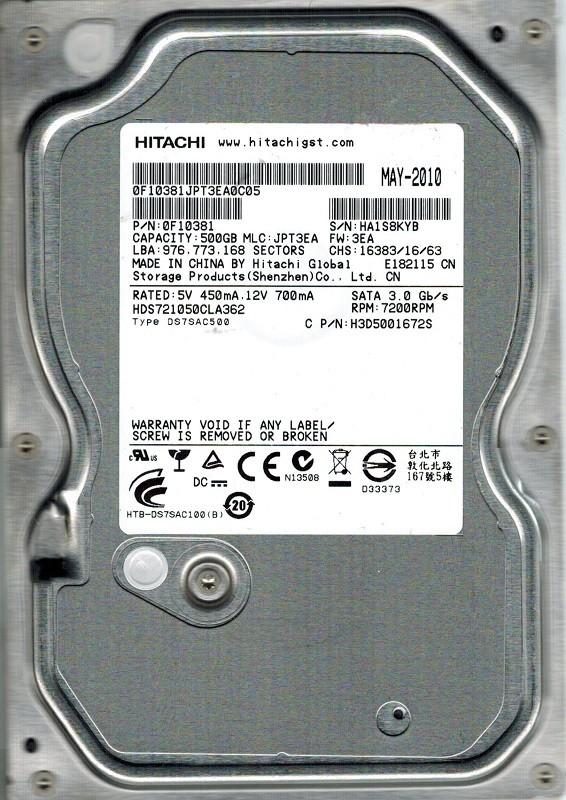 Hitachi HDS721050CLA362 P/N: 0F10381 MLC: JPT3EA 500GB