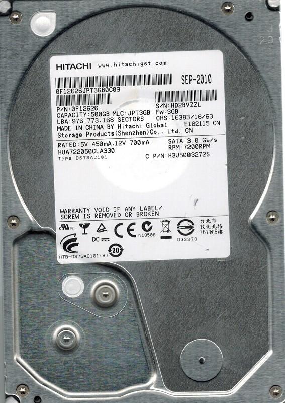 Hitachi HUA722050CLA330 P/N: 0F12626 MLC: JPT3GB 500GB