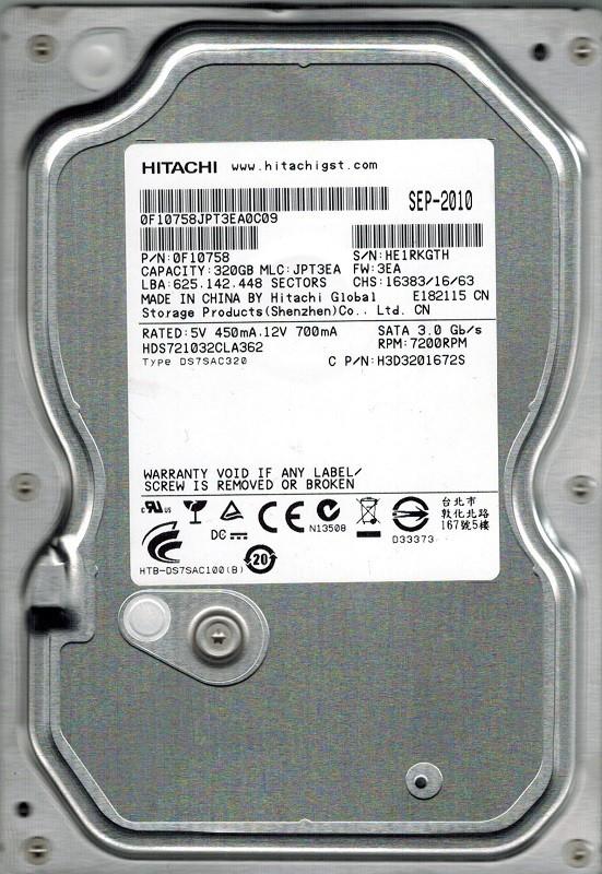 Hitachi HDS721032CLA362 P/N: 0F10758 MLC: JPT3EA 320GB