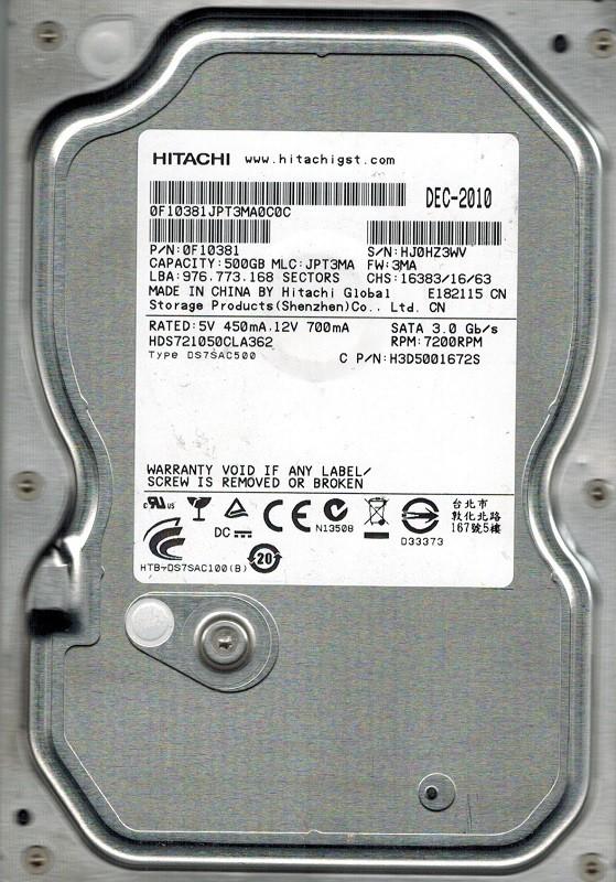 Hitachi HDS721050CLA362 MLC: JPT3MA P/N: 0F10381 500GB