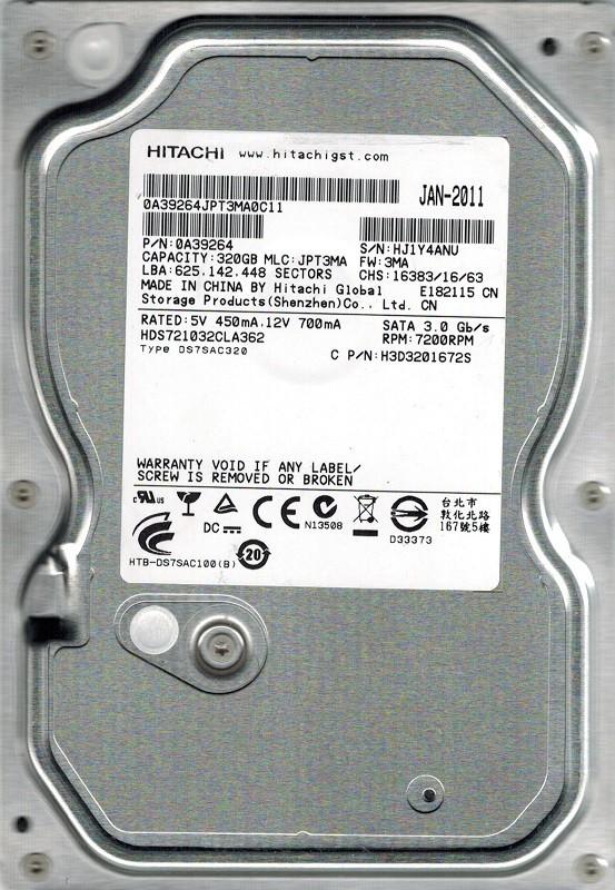 Hitachi HDS721032CLA362 P/N: 0A39264 MLC: JPT3MA 320GB