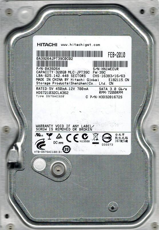Hitachi HDS721032CLA362 P/N: 0A39264 320GB MLC: JPT39C