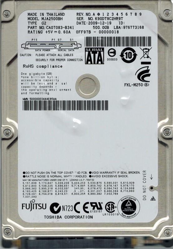 Fujitsu MJA2500BH 500GB P/N: CA07083-B341 DATE: 2009-12-19