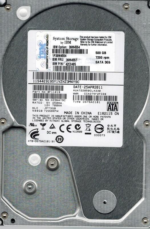 Hitachi HUA722050CLA330 P/N: 0F11019 MLC: JPT3GB 500GB