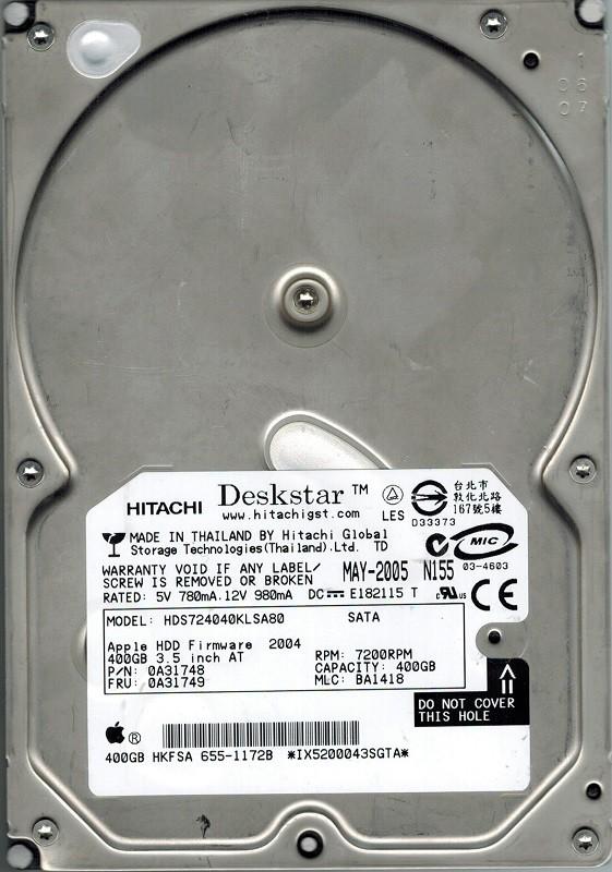 Hitachi HDS724040KLSA80 P/N: 0A31748 MLC: BA1418 400GB