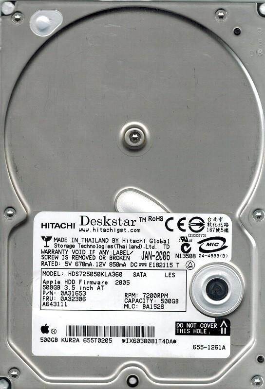 Hitachi HDS725050KLA360 P/N: 0A31653 MLC: BA1528 MAC 500GB APPLE