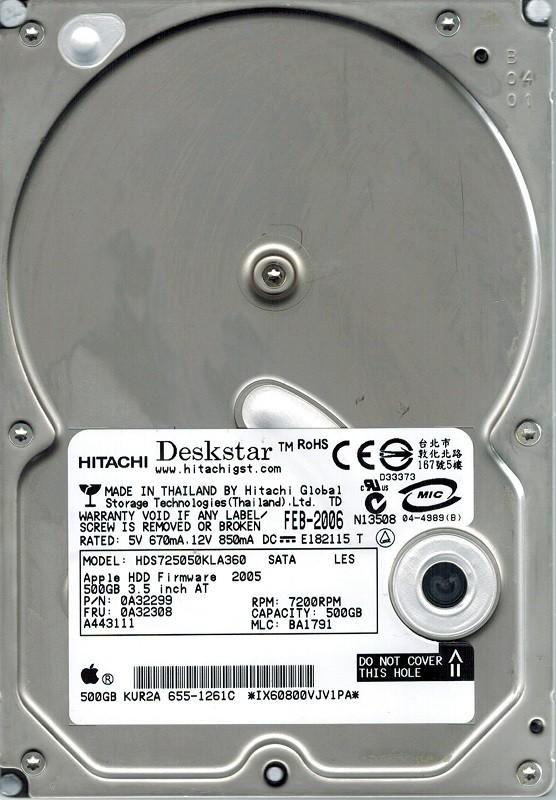 Hitachi HDS725050KLA360 P/N: 0A32299 MLC: BA1791 500GB