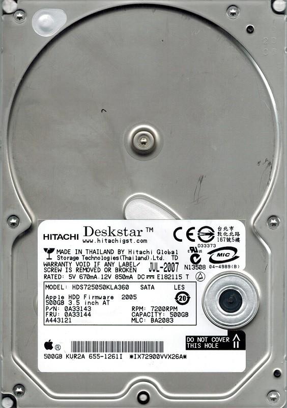 Hitachi HDS725050KLA360 P/N: 0A33143 MLC: BA2083 MAC 500GB APPLE