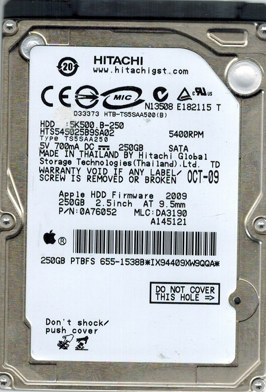 Hitachi HTS545025B9SA02 MAC P/N: 0A76052 250GB MLC: DA3190 APPLE