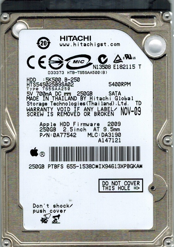 Hitachi HTS545025B9SA02 P/N: 0A77542 MLC: DA3190 MAC 250GB APPLE