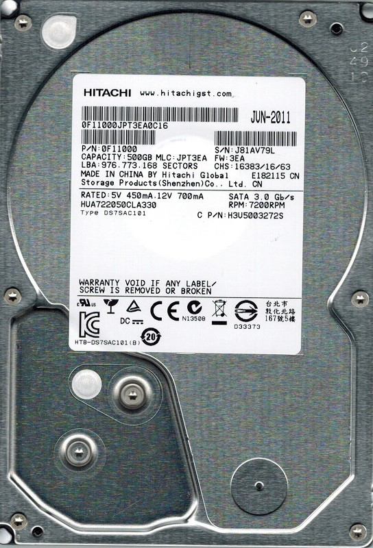 Hitachi HUA722050CLA330 MLC: JPT3EA P/N: 0F11000 500GB