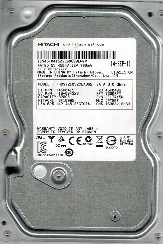 Hitachi HDS721032CLA362 P/N: 0F10995 MLC: JPT50E 320GB
