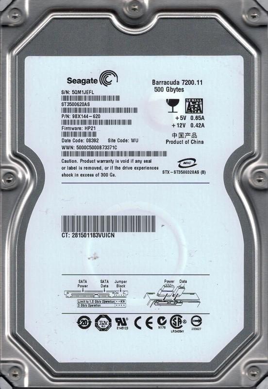 Seagate ST3500620AS P/N: 9BX144-620 F/W: HP21 500GB WU