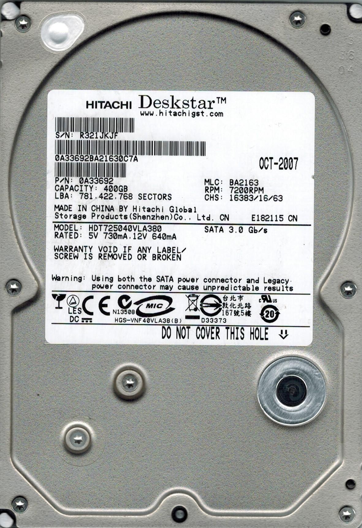 Hitachi HDT725040VLA380 P/N: 0A33692 MLC: BA2163 400GB SATA