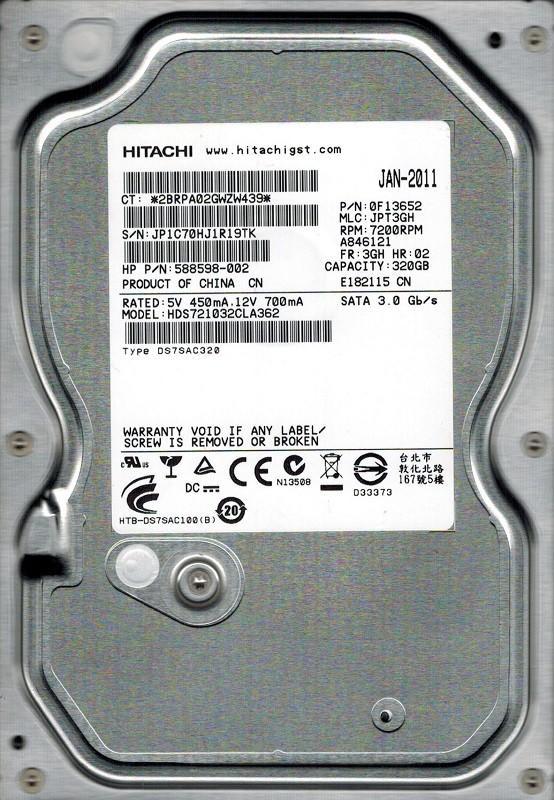 Hitachi HDS721032CLA362 P/N: 0F13652 320GB MLC: JPT3GH