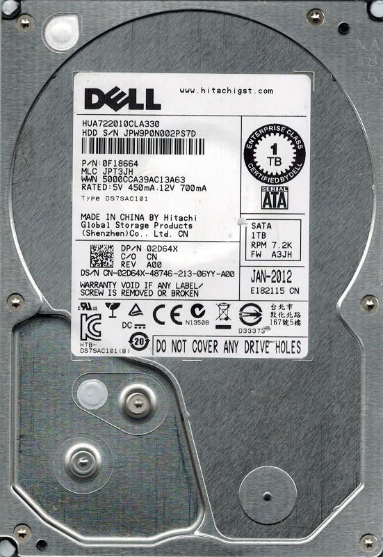 Hitachi HUA722010CLA330 P/N: 0F18664 MLC: JPT3JH 1TB Dell