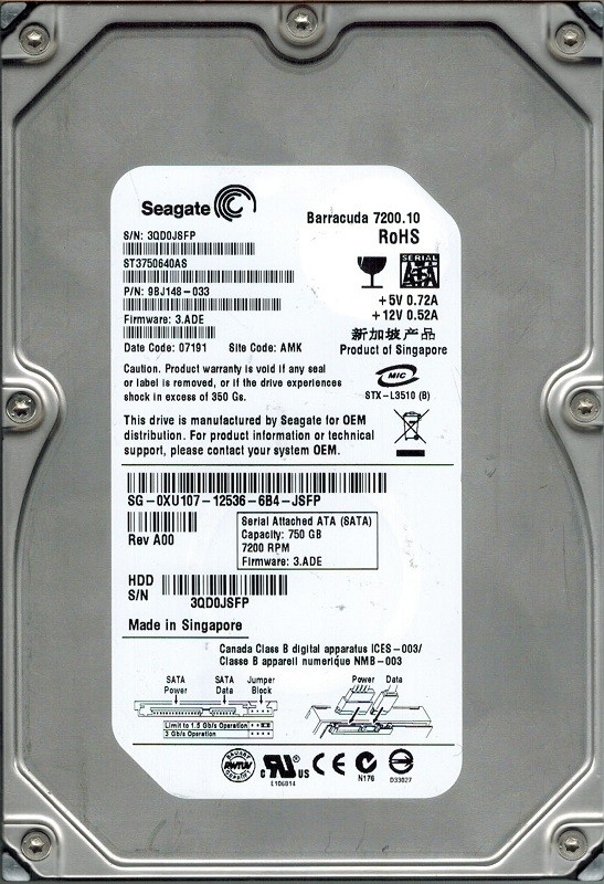 Seagate ST3750640AS P/N: 9BJ148-033 F/W: 3.ADE 750GB AMK