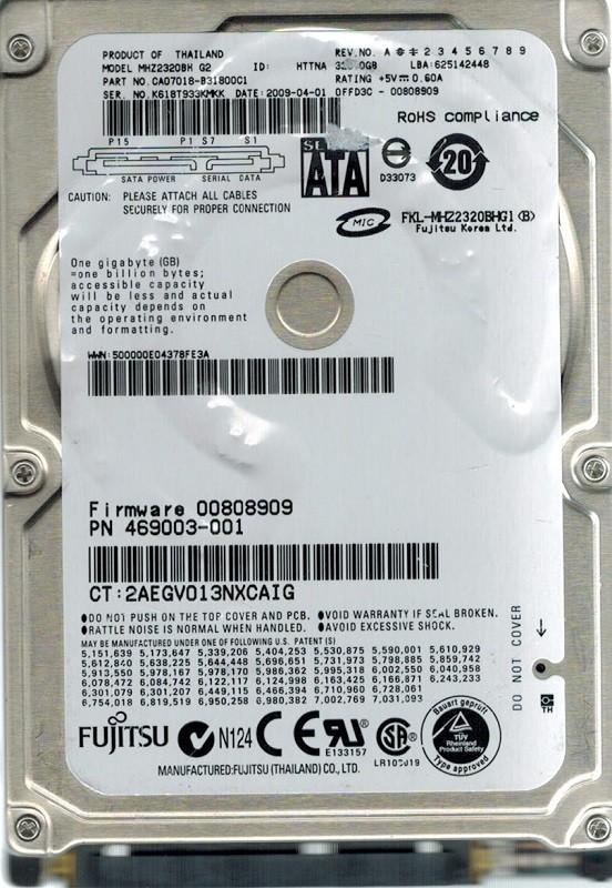 Fujitsu MHZ2320BH 320GB P/N: CA07018-B31800C1 DATE: 2009-04-01