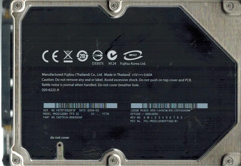 Fujitsu MHZ2120BH 120GB P/N: CA07018-B68300AP DATE: 2009 03