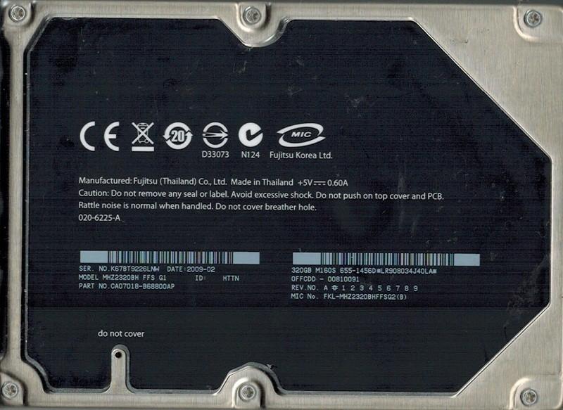 Fujitsu MHZ2320BH MAC 655-1456D 320GB P/N CA07018-B68800AP DATE: 2009 02